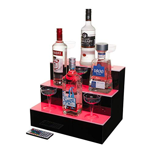 J&B Goods LED Lighted Liquor Bottle Display Illuminated Bottle Shelf 3 Tier! Home Bar Bottle Shelf 16