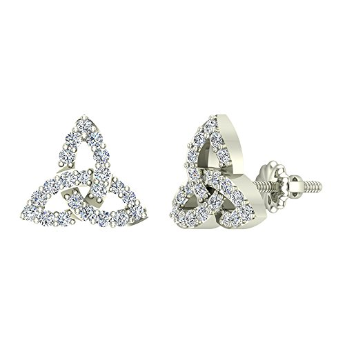 (Diamond Earrings Celtic Knot Pave Studs 14K White Gold - Screw Back Posts (0.50 carat total))