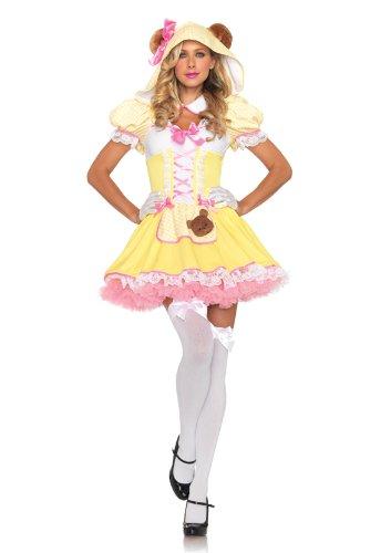 Leg Avenue Women's 2 Piece Beary Cute Goldilocks Apron Dress with Ear Hood And Collar Choker, Yellow, (Goldilocks Halloween)