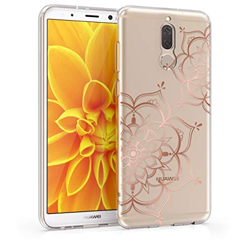 10 Lite Crystal - kwmobile TPU Silicone Case for Huawei Mate 10 Lite - Crystal Clear Smartphone Back Case Protective Cover - Rose Gold/Transparent