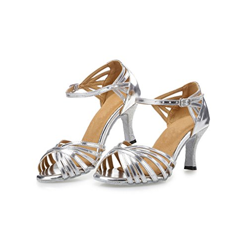 "Misu Women's Peep toe Sandals Latin Salsa Tango Practice Ballroom Dance Shoes with 2.75"" Heel Silver"