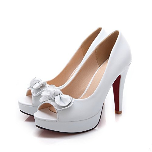 BalaMasa Girls peep-toe high-heels metal Bowknot Pull-On gomma pumps-shoes, Bianco (White), 35