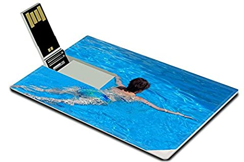 Luxlady 32GB USB Flash Drive 2.0 Memory Stick Credit Card Size Middle aged woman swims in the swimming pool closeup IMAGE (The Middle Season 1 2 3 4)