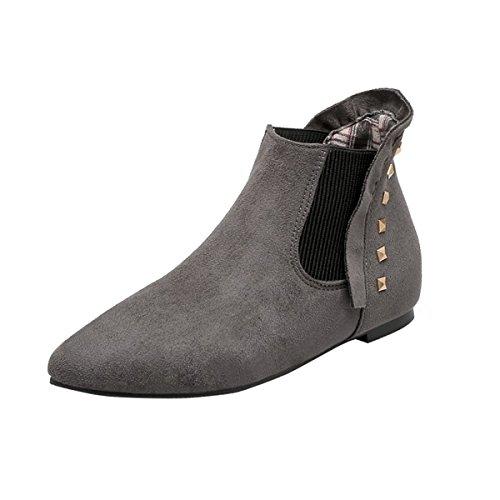 YE Damen Flache Chelsea Boots Ankle Boots Stiefeletten mit Nieten Bequem Modern Schuhe Grau