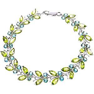 QP joailliers Topaze Bleu naturel & Peridot Bracelet en or blanc 9carats, 16,50CT-2623W