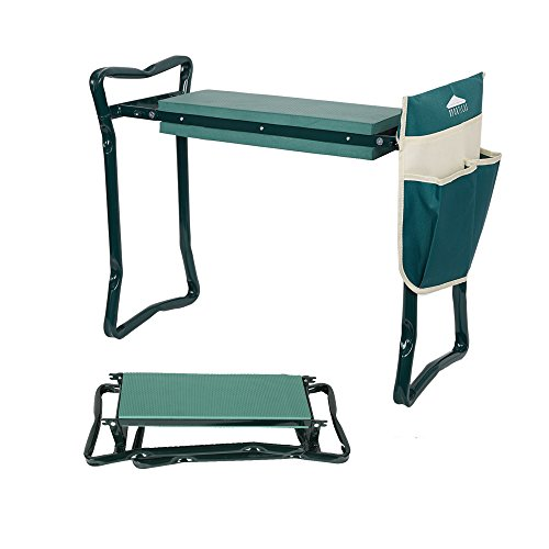 (LUCKYERMORE Folding Garden Kneeler and Seat Garden Bench Lightweight Garden Stools with Tool Pouch and Soft Kneeling Pad)