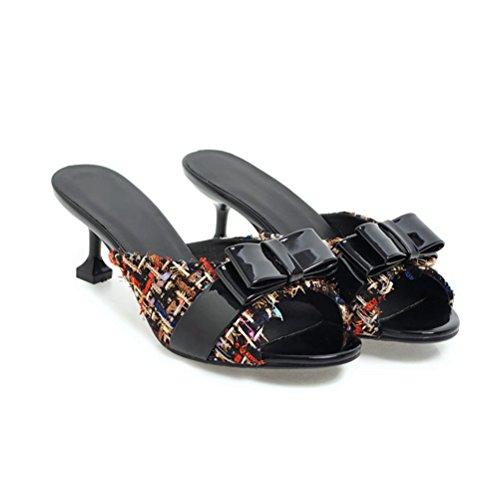 Las los Boca Dulces Las Verano Sandalias Vestido en de del La Zapatos Mujeres Las los Tacón de Negro resbalar Bowknot Bombea de Diapositiva la de Pescados Mulas IRxwTdYWwq