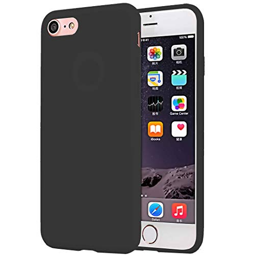 CaseHQ Compatible with iPhone 6S Plus Case, iPhone 6 Plus Case, Minimalist Ultra Thin Slim Fit Silicone Gel Rubber Case,Shock Absorption Anti Scratch Finish Cover TPU Cases - Black