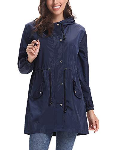 Navy Raincoat Blue - Abollria Womens Outdoor Waterproof Lightweight Windbreaker Raincoat Hooded Rain Jacket Navy Blue