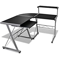 Home Office L-Shape Corner Computer Desk PC Laptop Table Workstation, Black