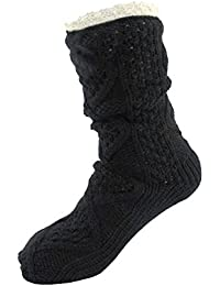 Extra Thick Cozy Fuzzy Thermal Cabin Plush Fleece-lined Knitted Crew Socks