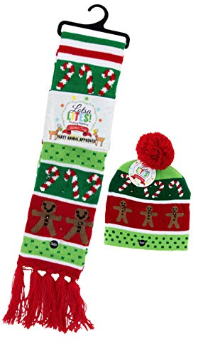 Christmas Hat and Scarf Light Up Set, Candy Cane and Gingerbread