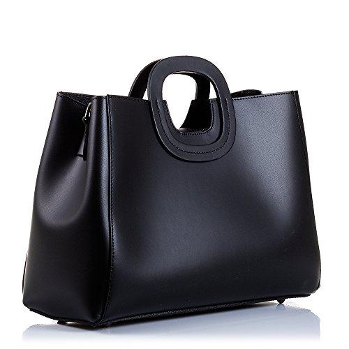 FIRENZE ARTEGIANI.Bolso de mujer piel auténtica.Bolso TOTE cuero genuino RUGA lujo, tacto suave.Asa y forma diseño exclusivo.MADE IN ITALY.VERA PELLE ITALIANA.31x30x15 cm.Color:NEGRO