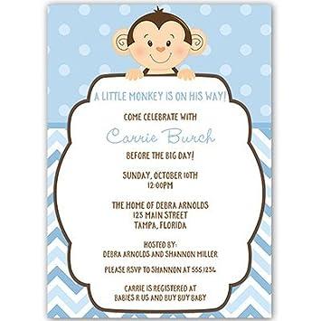 Amazon little monkey baby shower invitations sprinkle little monkey baby shower invitations sprinkle birthday blue boys filmwisefo
