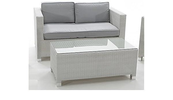Sofa 2 plazas rattan blanco artic con cojines gris: Amazon ...