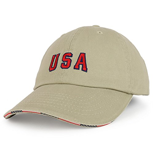Armycrew USA Embroidered Washed Cotton Twill Unstructured Sandwich Bill Baseball Cap - Khaki
