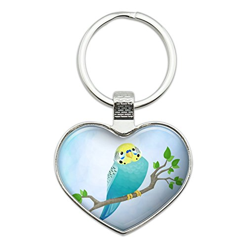 (Pretty Parakeet Budgie Heart Love Metal Keychain Key Chain Ring)