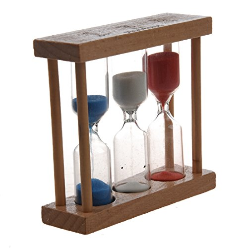 SODIAL(R)3 in 1 Sand Timer 1+3+5 Minute - Natural Wood