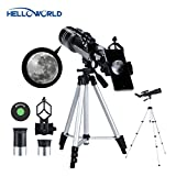 World Optical 150X Magnification Telescope- 70mm Refractor Astronomical Telescopes for Kids and Astronomy Beginners, HD Large View Portable Travel Scope with Tripod, Finder Scope and Four Eyepieces