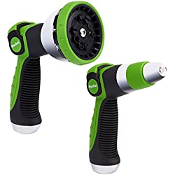 Garden Hose Nozzle Spray Nozzle Set, Poshei Metal Water Nozzle, Heavy Duty 10 Adjustable Watering Patterns - Thumb Control Resistant - for Watering Plants, Cleaning, Car Wash and Showering Pets