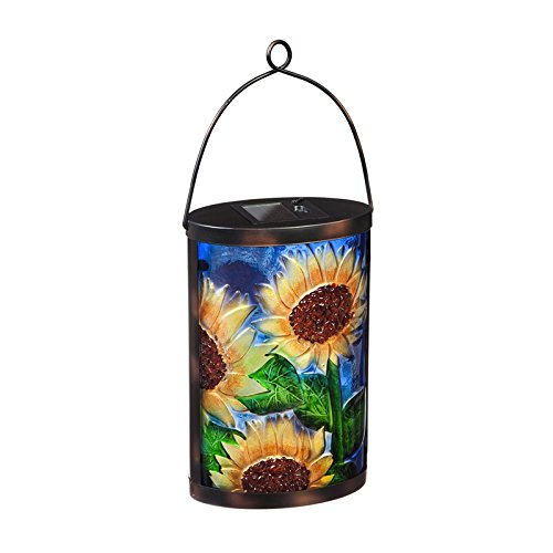 - New Creative Sunflower Solar Glass Lantern