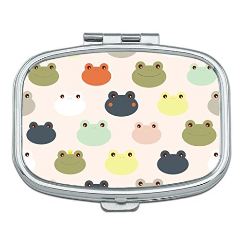 Cute Colorful Frog Custom Rectangle Silver Pill Box Pocket Medicine Tablet Holder Organizer Pill Decorator Case ()