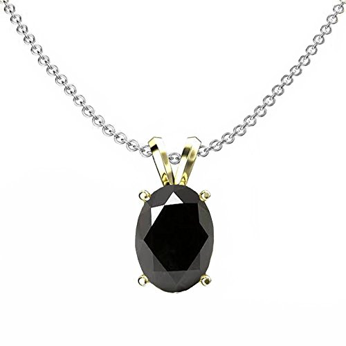 (DazzlingRock Collection 14K Yellow Gold 8x6 mm Oval Cut Black Sapphire Ladies Solitaire Pendant (Silver Chain Included) 1CT)