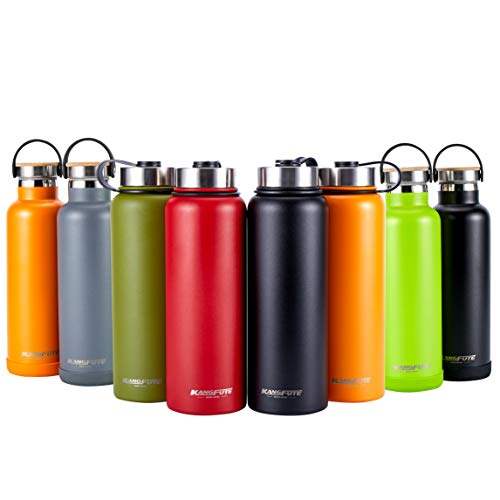 KANGFUTE Stainless Steel Water Bottle, Double Walled Vacuum Insulated Thermos Flask, BPA with Leak Proof Lid, Keeps Drinks Hot for 24 Hours, Cold for 12 Hours Matte Black