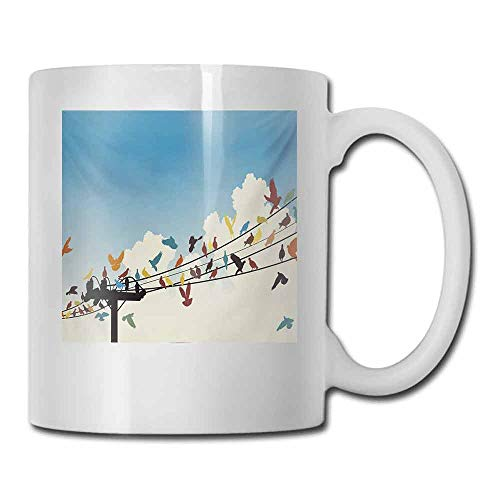 (Ceramic Porcelain Mug Colorful Animal Theme Silhouettes of Colorful Birds Roosting on Telegraph Wires Pattern Milk 11 oz Multicolor)