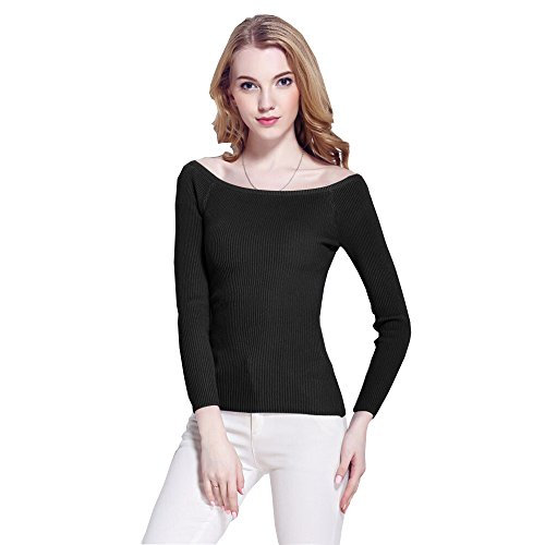 [Daysoft Women Off shoulder Long Sleeve sweater (one size, B)] (Vinyl Cat Hood)