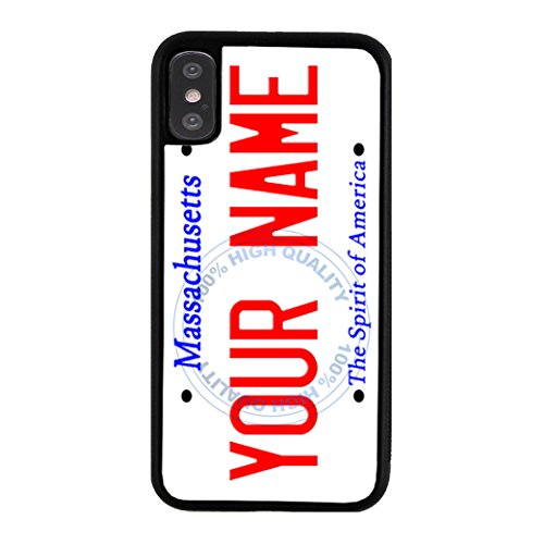 (BleuReign Personalized Massachusetts License State Plate Rubber Phone Case for Apple iPhone X Xs Ten)