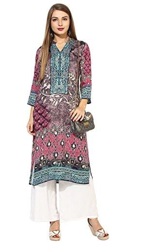 "Lagi Designer Rayon Straight Kurti for Women Printed Tunic Top Mandarin Collar ¾ th Sleeve Dress"" (XL-44) by Lagi"