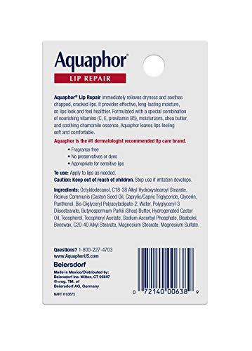 Aquaphor Lip Repair Stick Multipack- Soothes Dry Chapped Lips – (4)- .17oz. sticks, 0.68 Ounces