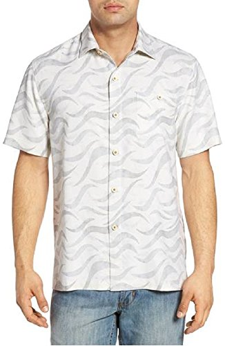 Tommy Bahama Island Zone Retsina Waves Silk Blend Camp Shirt (Color Continental, Size XL)