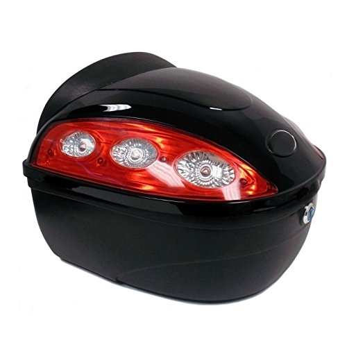 Motorcycle Scooter Universal Travel Top Box Luggage Tail Trunk Case BLACK - 388 (High Capacity Top Side Box)