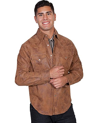 Scully Men's Leather Shirt Jacket Brown Medium
