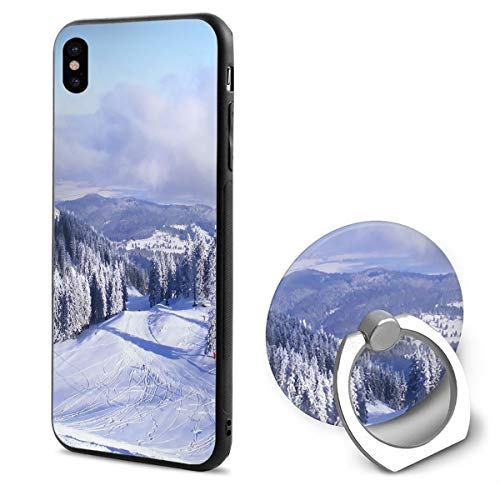 (iPhone X Case Snow Mountains with Ring Holder 360 Degree Rotating Stand Grip Mounts Slim Soft Protective Cover)