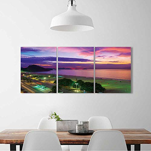 3 Pieces Multiple Pictures Wall Art Frameless Sunset on Copacabana and Leme beach in Rio de Janeiro,Brazil perfect wall decoration W12