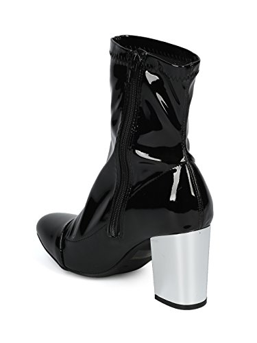 Metallic Patent Alrisco Leatherette Patent Heel Women Boot Black Block HF20 Ankle qRHZtnH