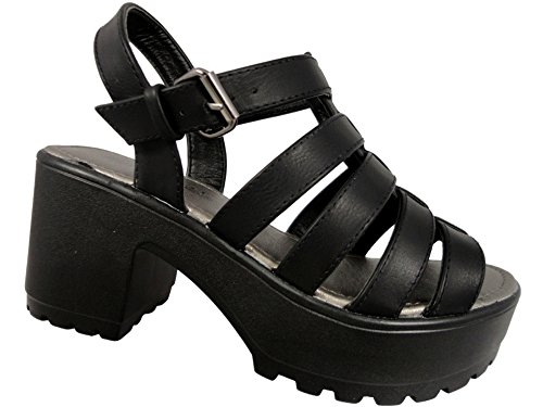 Mädchen Leder Look Low Plattform schwarz Schnalle Fashion Schuhe 10�?