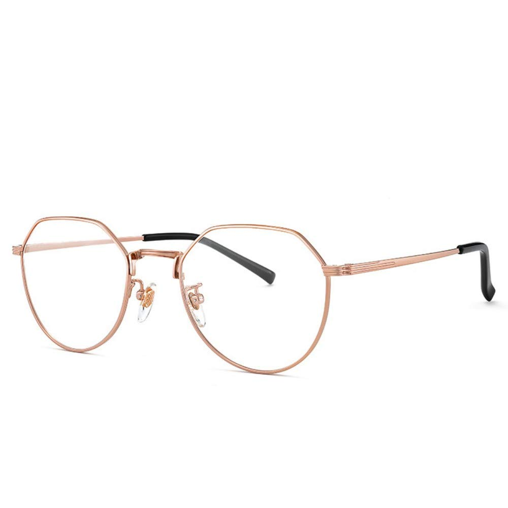 Anti-blue radiation glasses polygonal flat glasses no degree personality unisex rose gold