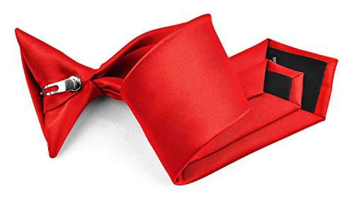 Moda Di Raza - Boy's NeckTie Solid Clip on Polyester Tie - Boys' Kids' Children's Solid Color Boys Formal Wear Pre-Tied Polyester Clip Necktie - Red/1