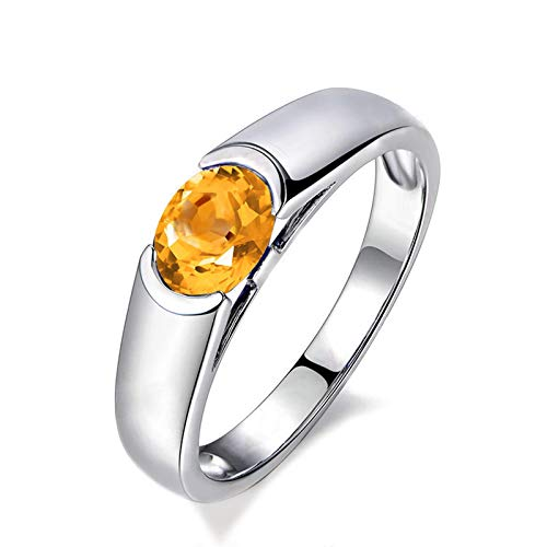 - Epinki 925 Sterling Silver Ring Oval Ring Wedding Women Rings Silver Silver with Yellow Citrine Couple Rings Gold Size