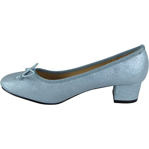 Womens Low Mid Heel Bow Comfy New Office Work Casual Court Shoes Size 3-8 Blue ZuvRy8o