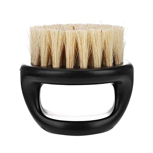 Beard Brush for Men Boar Bristles Brush Men's Shaving Brush Plastic Portable Barber Beard Brushes Salon Face Cleaning Razor Brush (White Brush Hair+Black Handle)