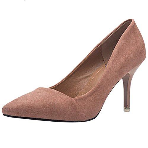 Azbro Mujer Zapatos Estilete Bomba Slip-on con Puntera Punta Corte Bajo Desnudo