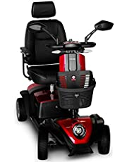 FOXTR Scooters Foxtr 2 Mid-Size Mobility Scooter, 4 Wheels, Red, with Ultra Suspension and mirrors Included 1 Countred, 1 count (FOXTR2-R)