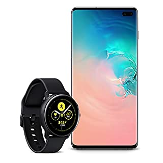 Samsung Galaxy S10+ Plus Factory Unlocked Phone with 1TB (U.S. Warranty), Ceramic White with Galaxy Watch Active (40mm), Black - US Version with Warranty
