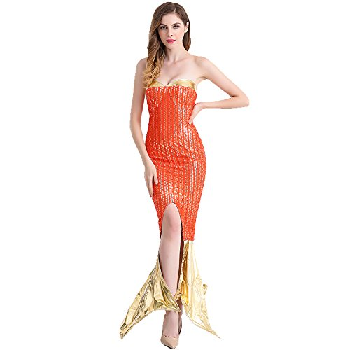 HUGGUH Mermaid Cosplay Disfraces Halloween Costume Sexy Red & Gold Mermaid (Disfraces De Halloween Chinos)
