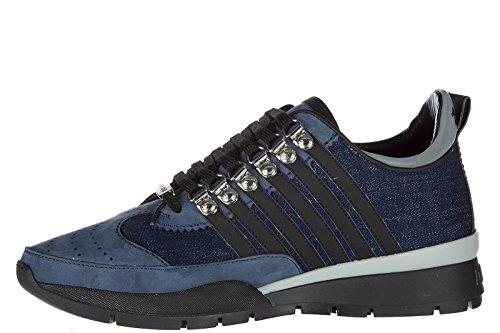 Dsquared2 Herrenschuhe Herren Leder Schuhe Sneakers 251 blu